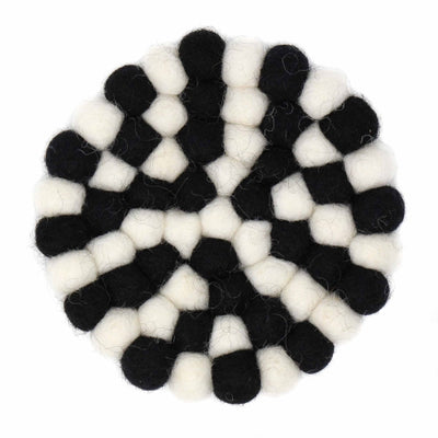 Felt Ball Coasters: 4-pack, Multicolor Black and White