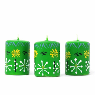 Unscented Hand-Painted Green Votive Candles, Boxed Set of 3 (Masika Design)