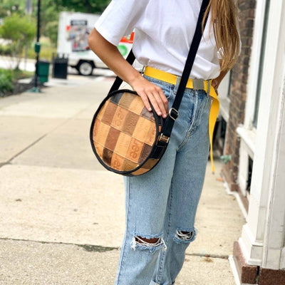 Jean Patch Round Shoulder Bag