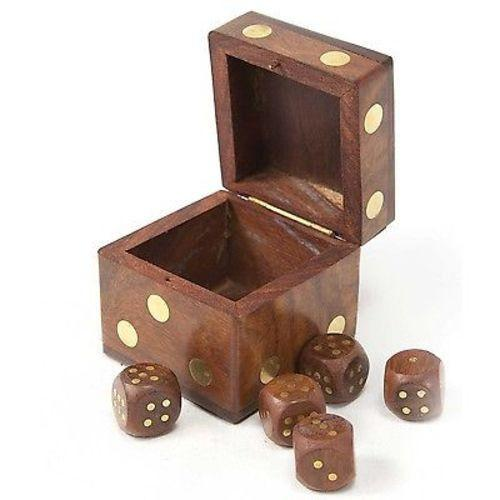 Handmade Wood Dice Box with Five Dice