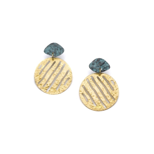 Nihira Earrings - Gold Medallion