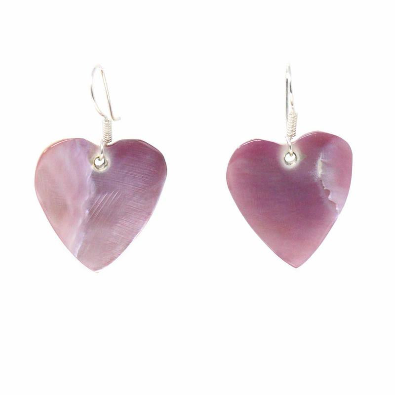 Mexican Taxco Silver Earrings, Pink Mother of Pearl Hearts