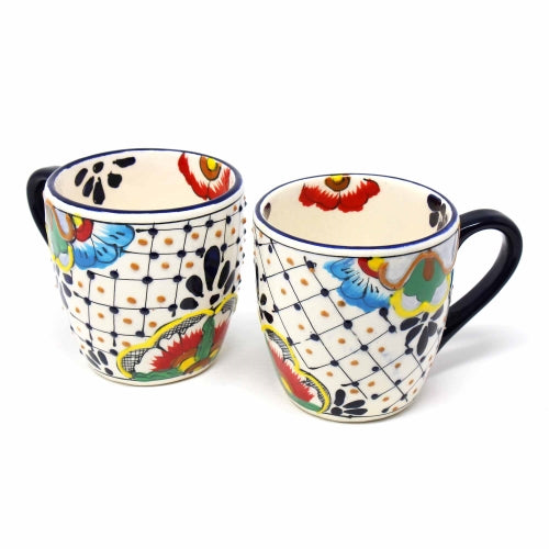 Encantada Handmade Pottery Set of 2 Mugs, Dots & Flowers - 12 oz.