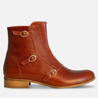 Monk strap boots womens brown leather by Julia Bo