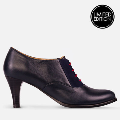 oxford high heels leather blue