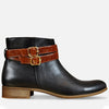 Ankle strap boots for women black leather by Julia Bo