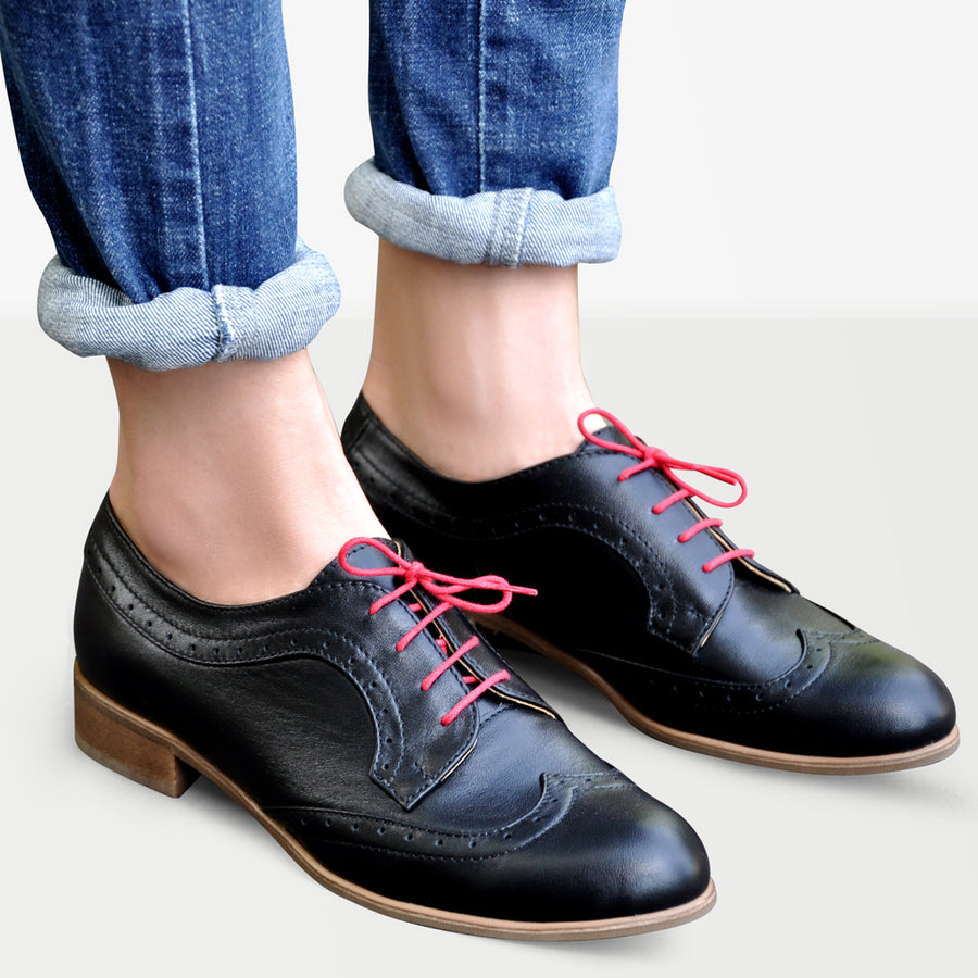 Derby shoes women, black leather by Julia Bo