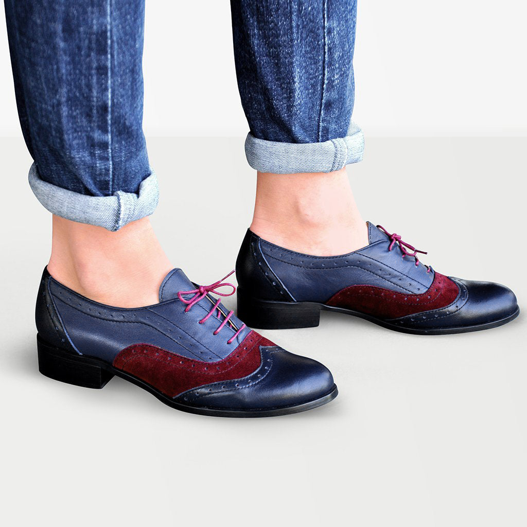 Blue Oxford Shoes Womens - Lenox by