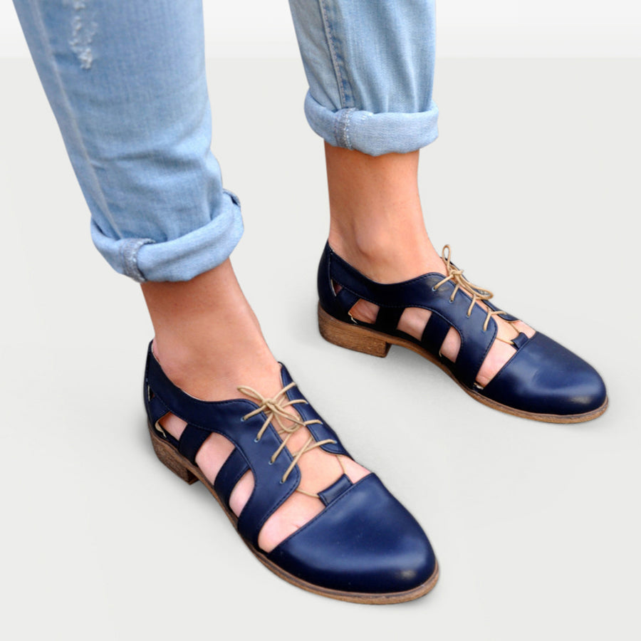Cut Out Oxford Shoes Navy Blue by Julia Bo