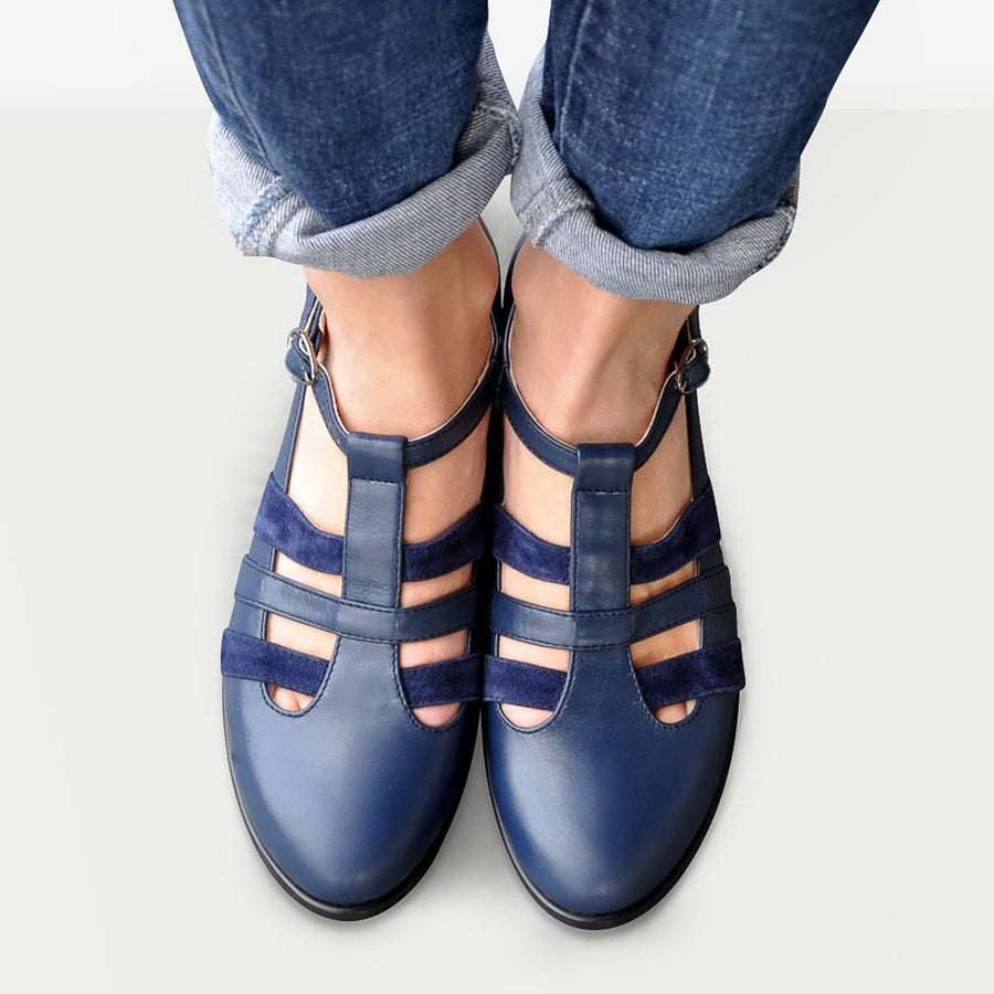 Navy Blue Mary Jane Shoes by Julia Bo Custom Made Women's Footwear