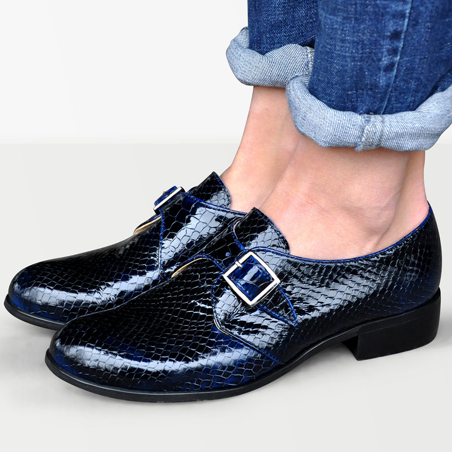 Navy blue monk strap shoes by Julia Bo