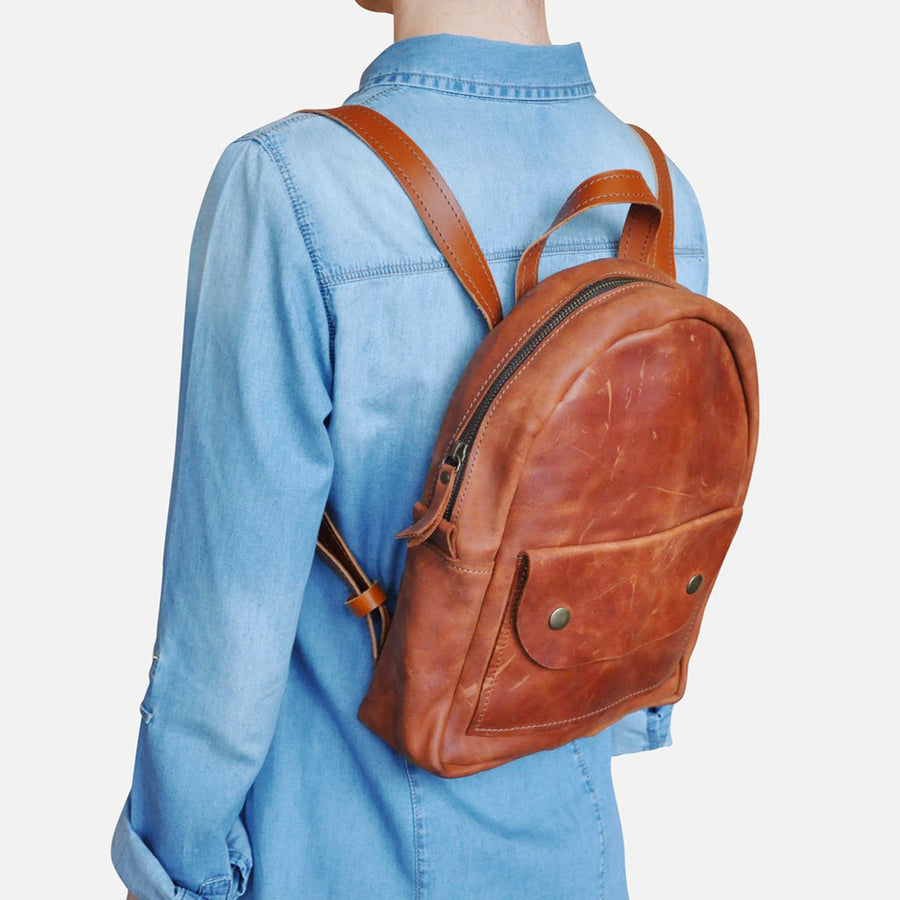 Brown leather backpack womens by Julia Bo