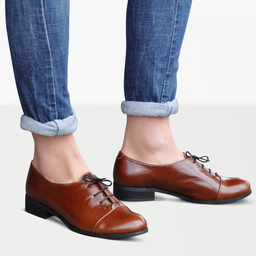 1920 Shoes Gatsby Brown by Julia Bo Handmade Women's Oxfords & Boots