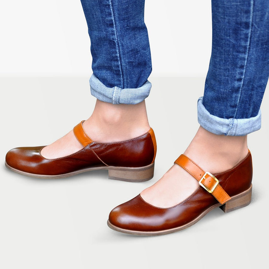 Flat Mary Jane Shoes Brown Leather by Julia Bo