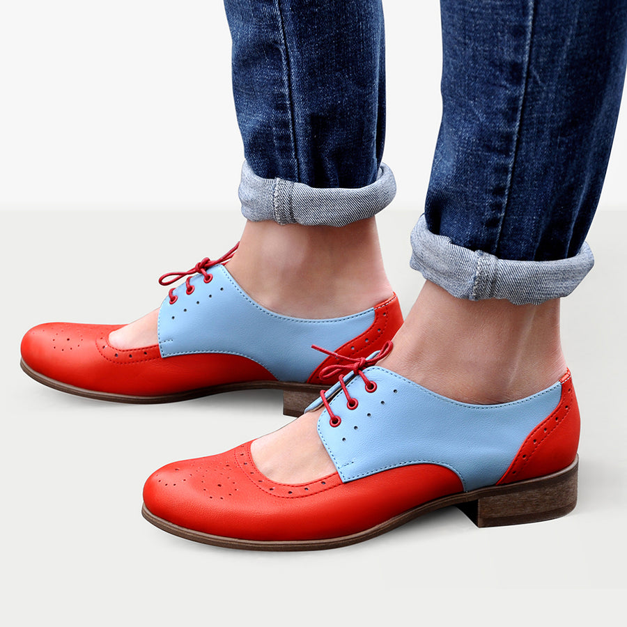 Women's Cutout Oxford Shoes Red Light Blue Leather by Julia Bo