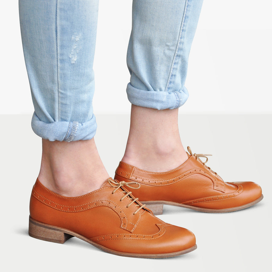 brown oxford shoes women by Julia Bo