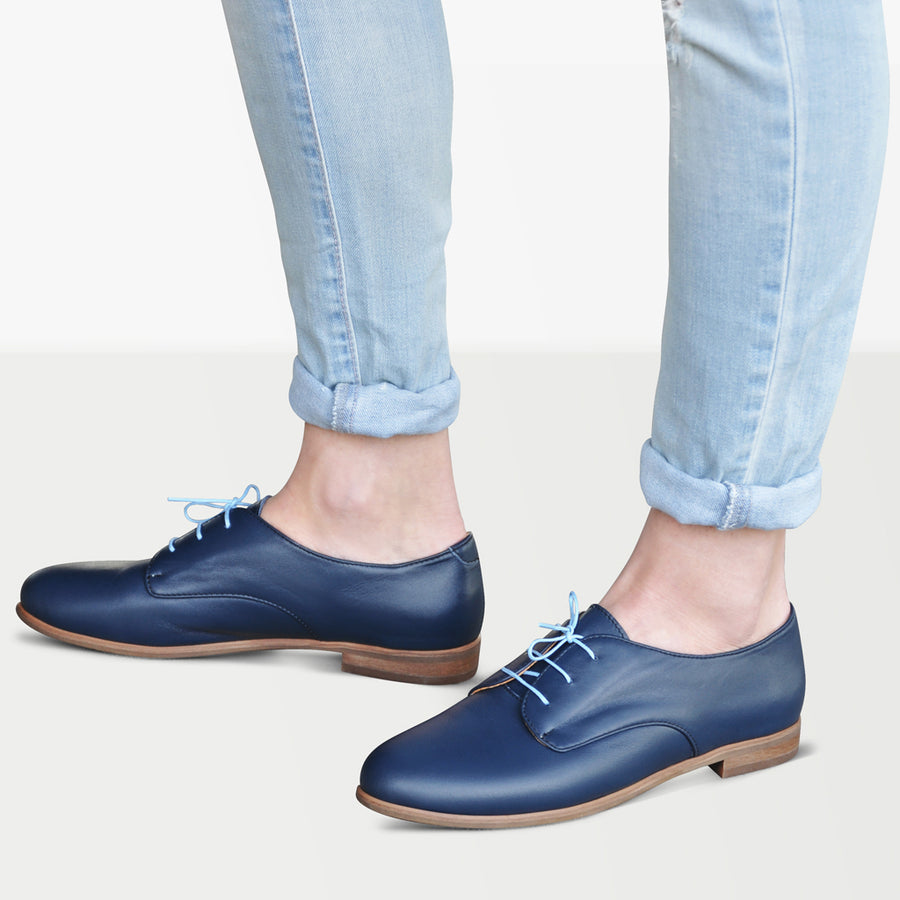 blue oxford shoes womens leather by Julia Bo