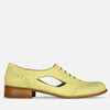 cut out oxford shoes yellow leather for summer