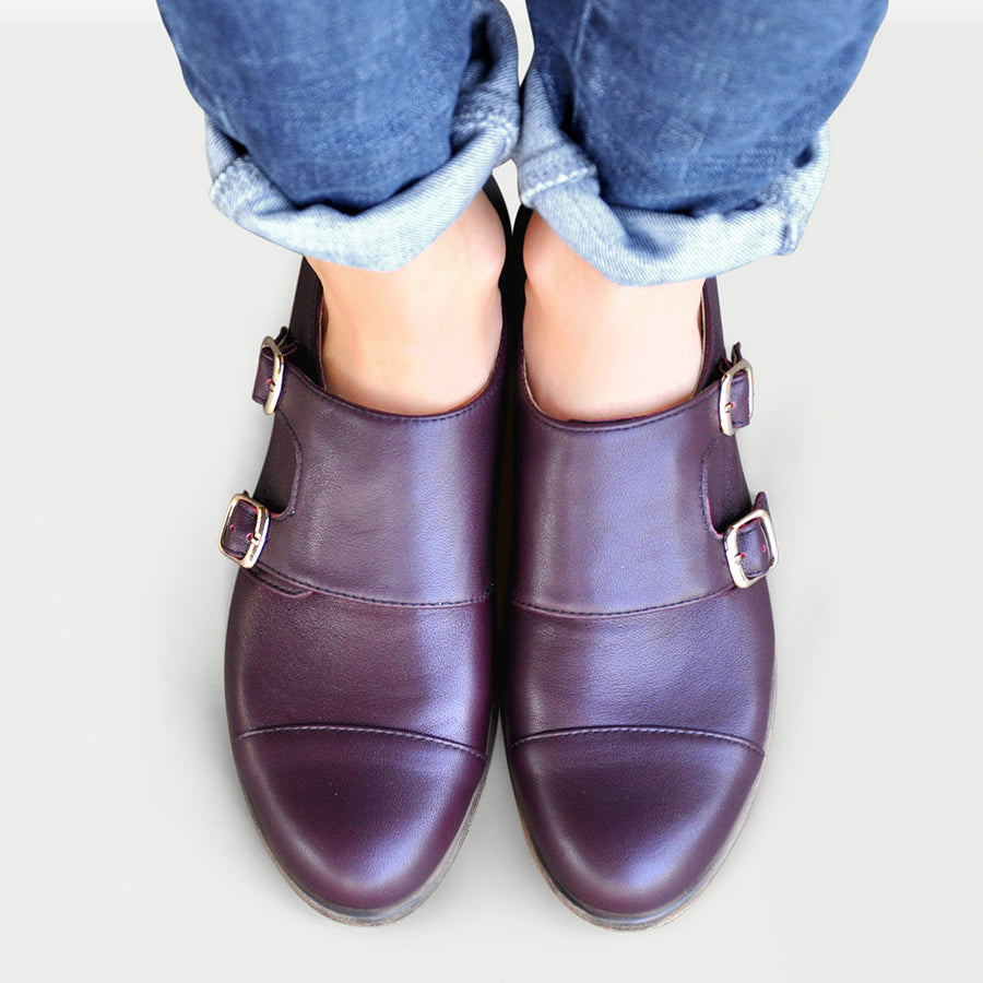 Women's double monk strap shoes burgundy leather by Julia Bo