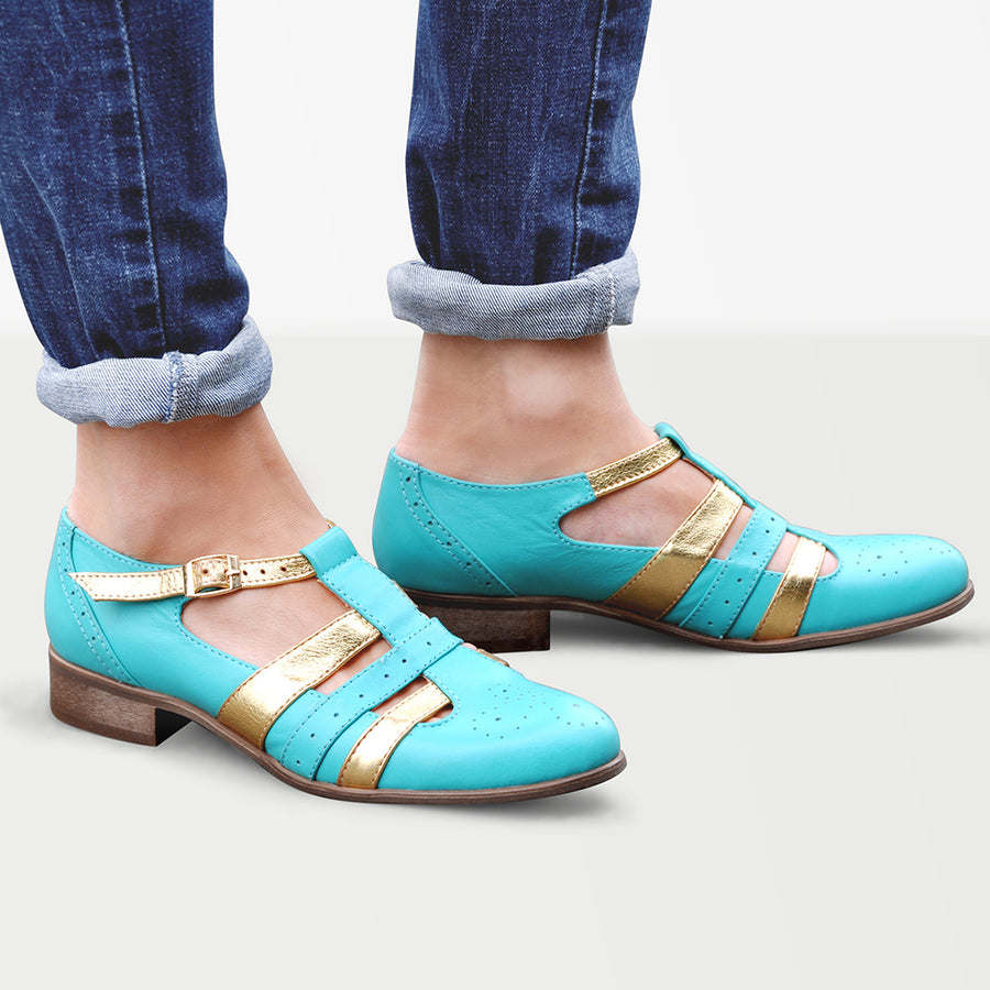 Turquoise Mary Jane Shoes by Julia Bo