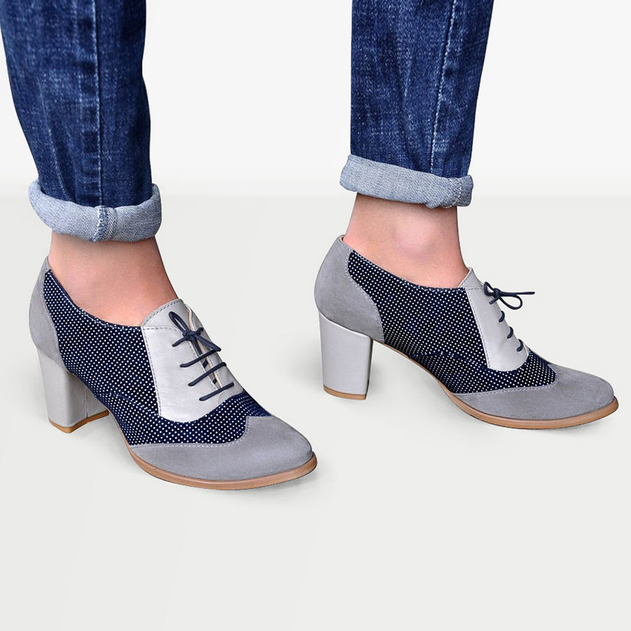 Gray Oxford Heels by Julia Bo