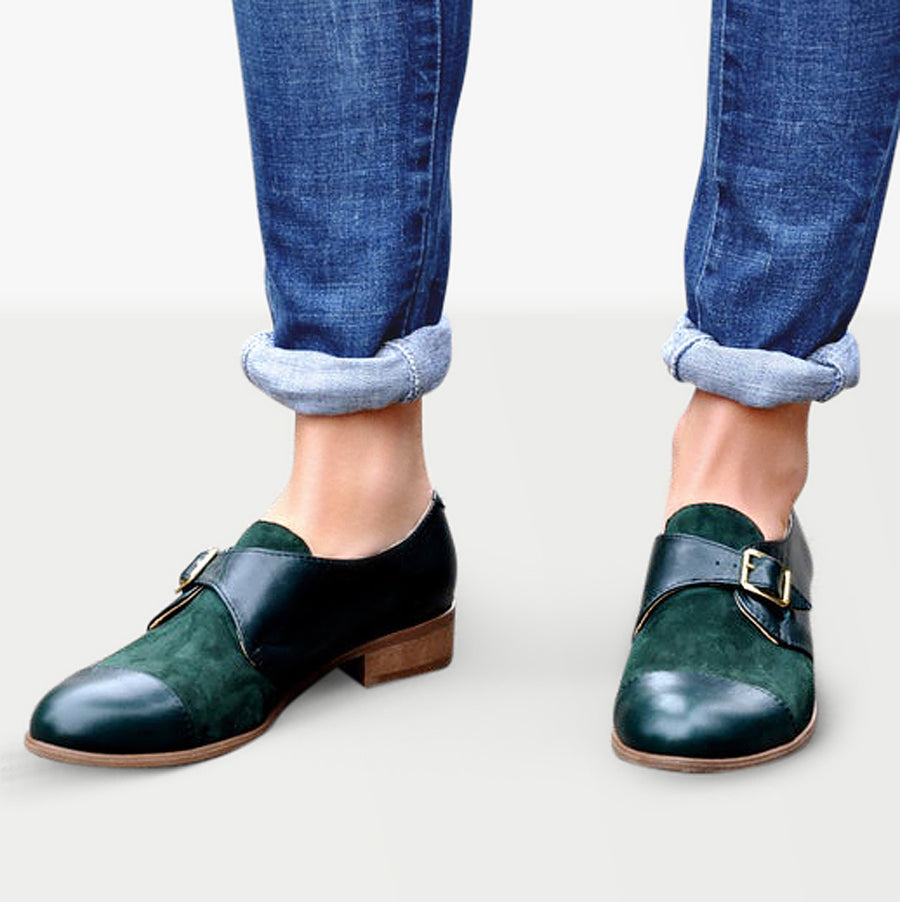 Monk strap shoes green leather by Julia Bo