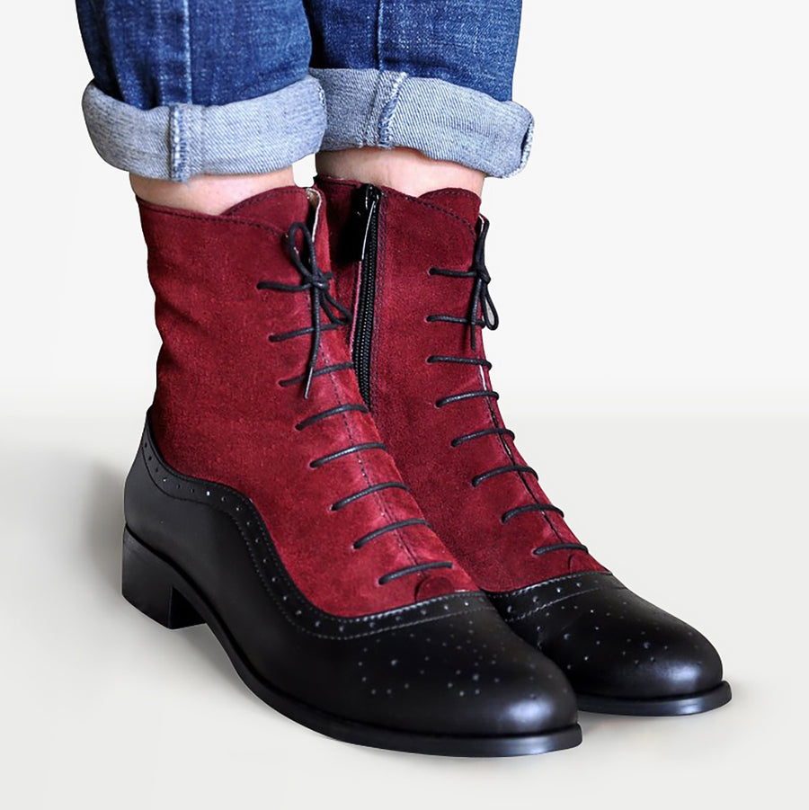 Women's Oxford Boots Black Leather by Julia Bo