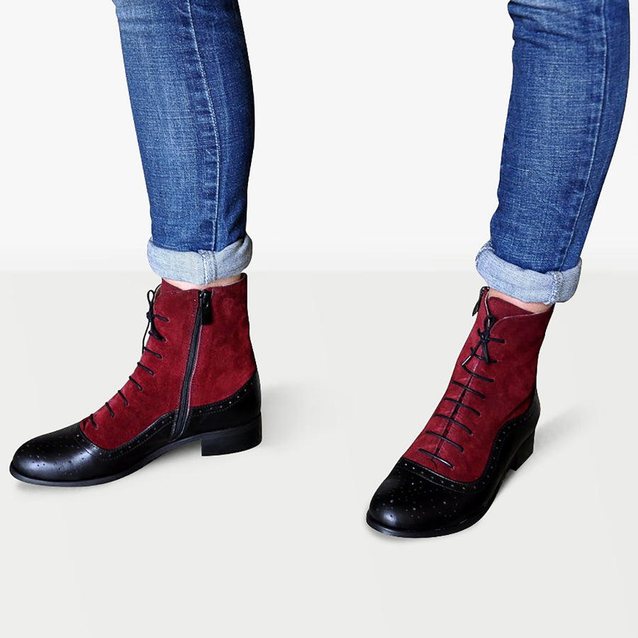 women oxford boots black burgundy leather