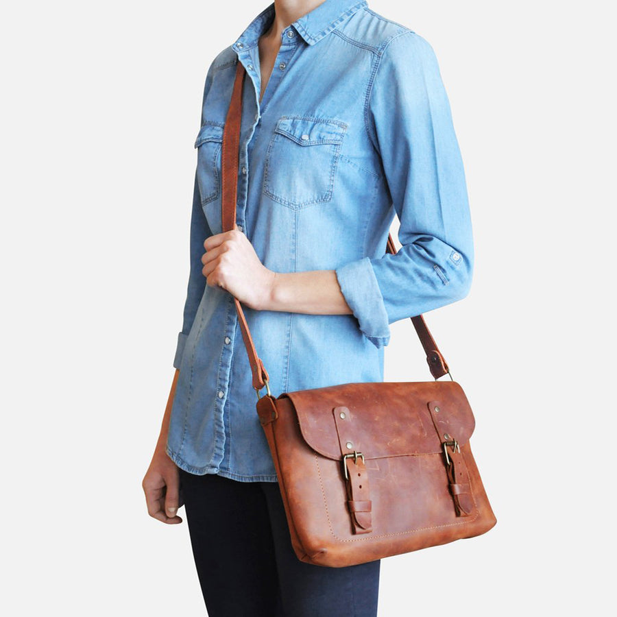 brown Messenger Bag for Women in Brown Leather by Julia Bo
