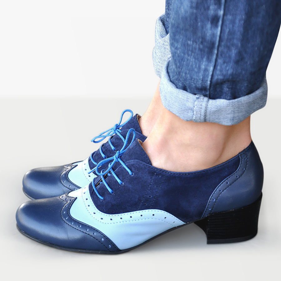 low heel oxford shoes blue leather