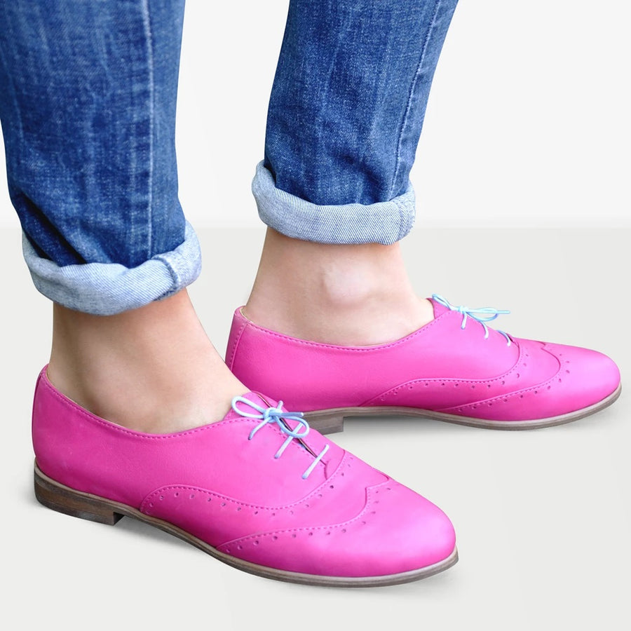 Pink Oxford Shoes Leather | Julia Bo - Custom Oxfords & Boots