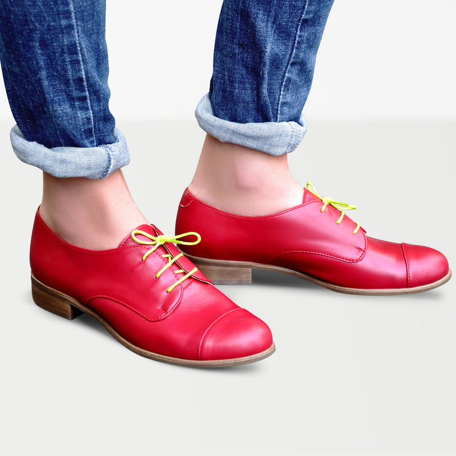 red oxford shoes leather