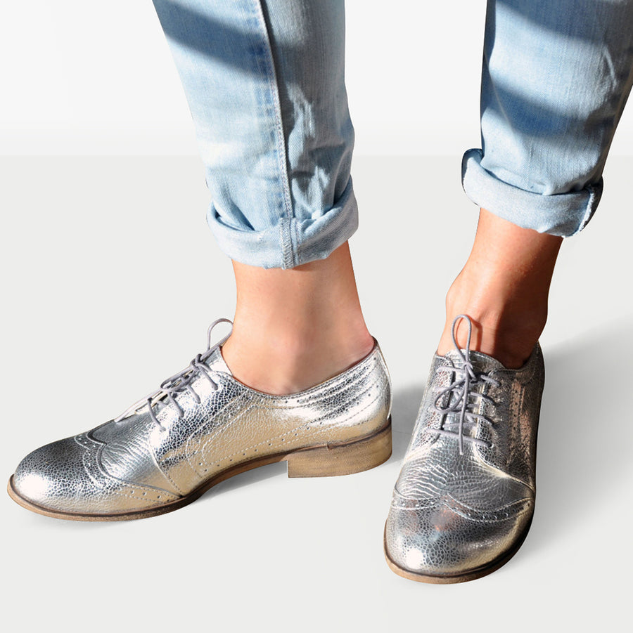 Silver Shoes Brogues Leather by Julia Bo