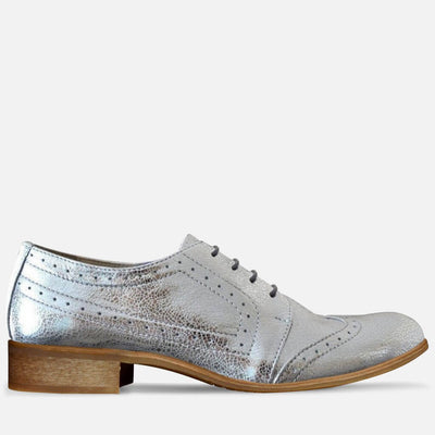 silver shoes brogues