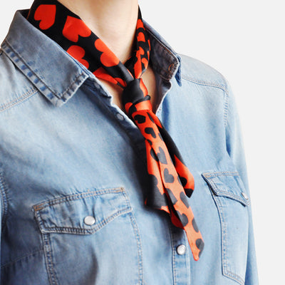 Womens Neckerchief Red Silk by Julia Bo