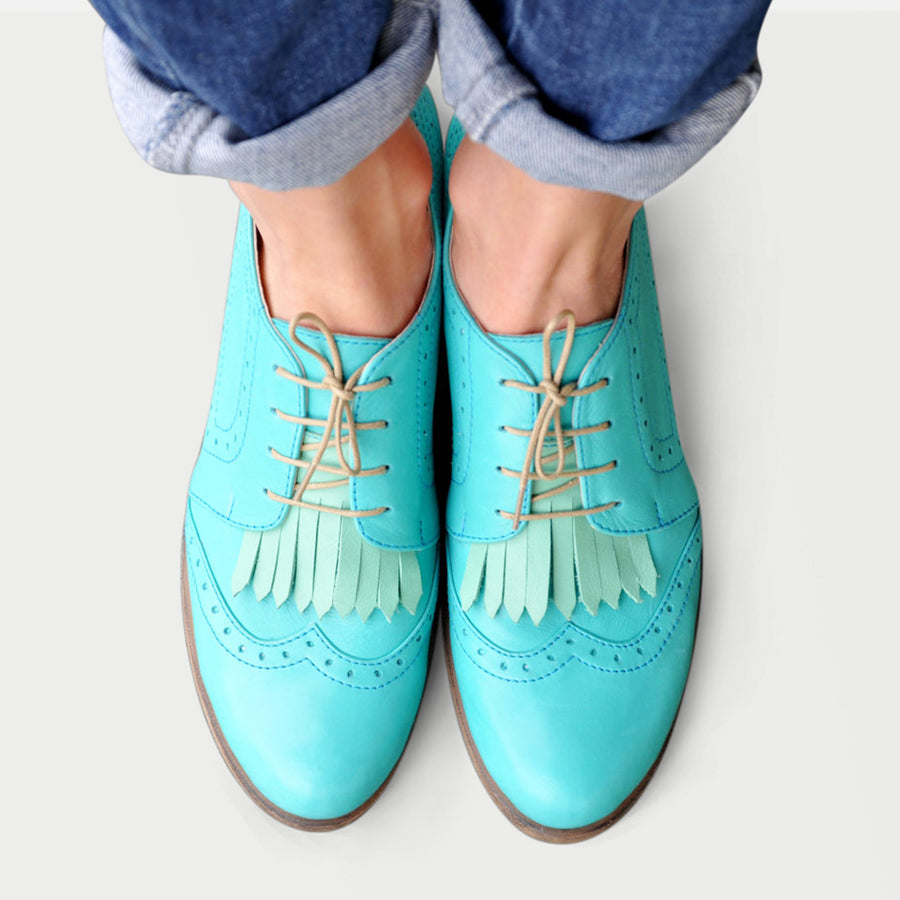 Turquoise Womens Shoes Leather by Julia Bo