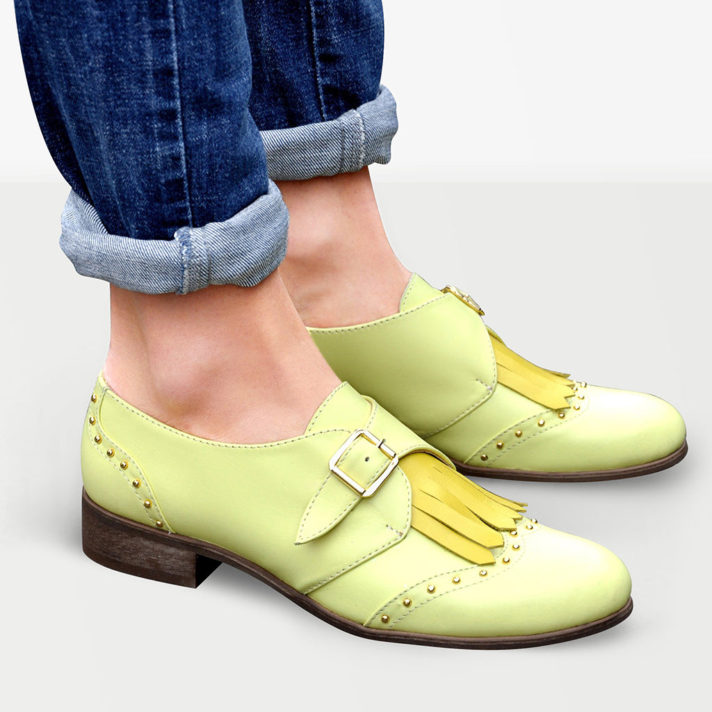 Oxford Shoes for Woman Yellow Soft Surface Handmade Shoes Oxford Shoes