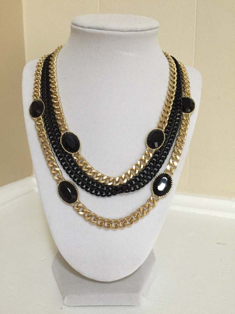Black and Gold Chains with Black Stones - Onyx and Blush