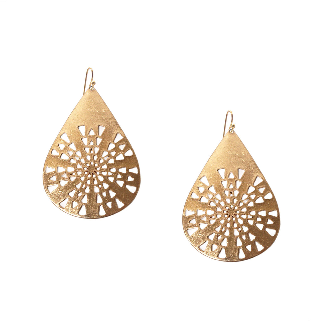 Laser Cut Teardrop Earring by Marlyn Schiff