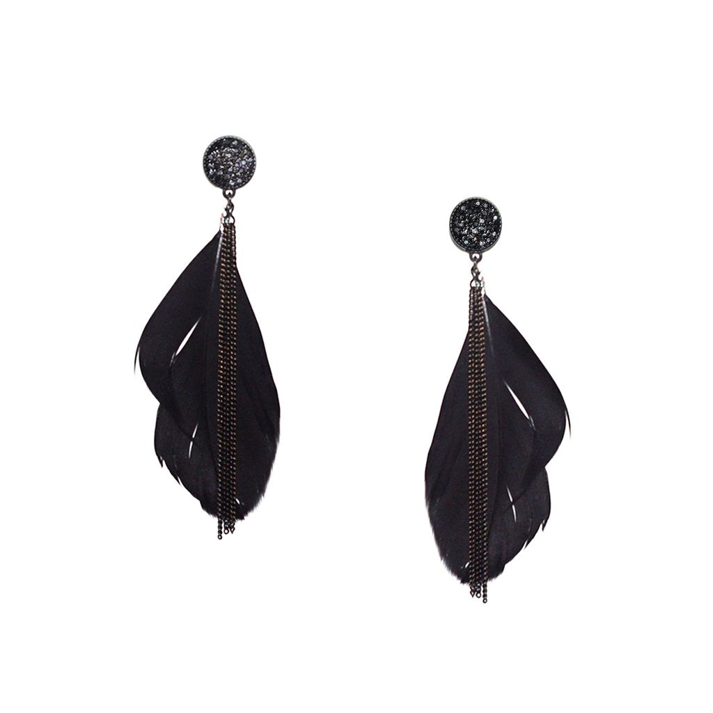 Chain Feather Earring by Marlyn Schiff