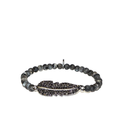 Pave Feather Bracelet by Marlyn Schiff