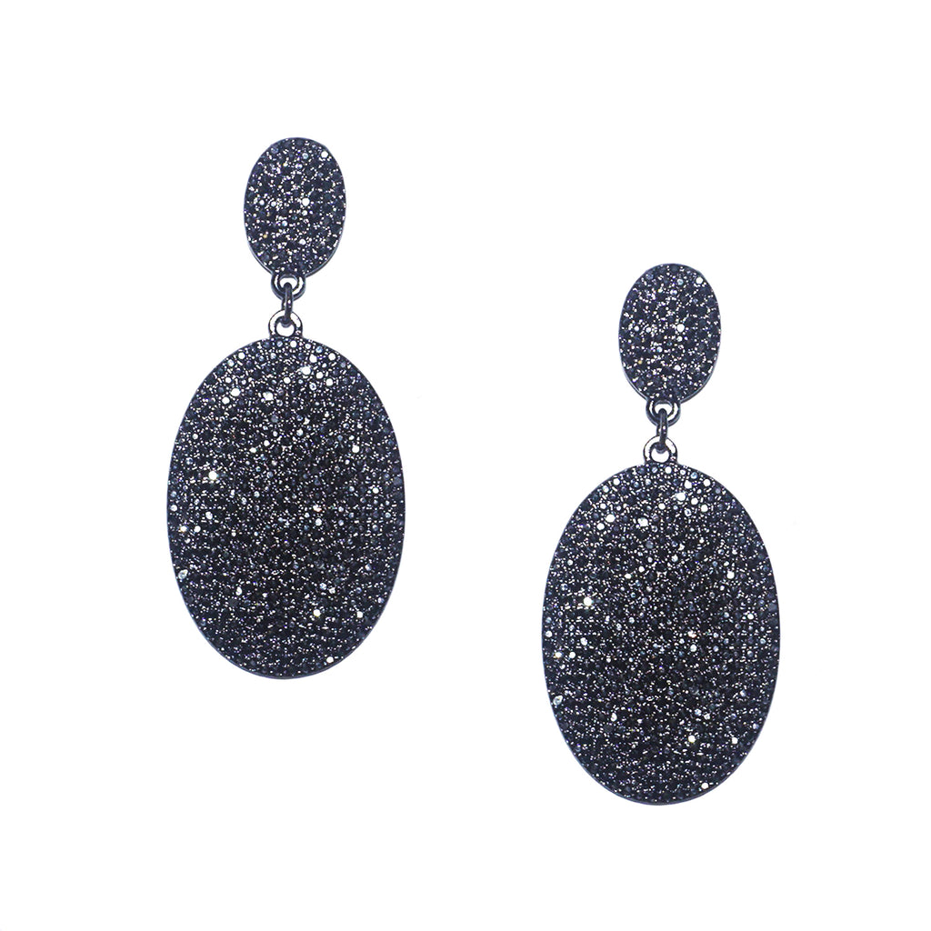 Pave Oval Disc Earring by Marlyn Schiff