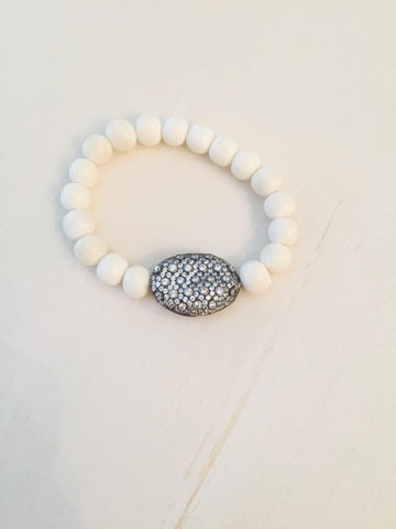Bone and Large Bubble Bracelet - Onyx and Blush