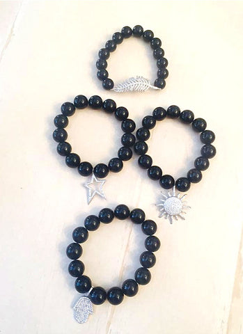 Onyx Beaded Bracelets - Onyx and Blush  - 1