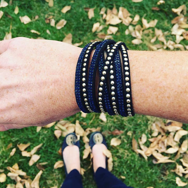Studded Wrap Bracelet - Onyx and Blush  - 5