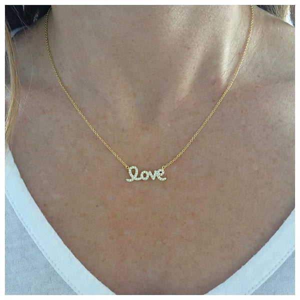 Love Script Necklace - Onyx and Blush  - 3