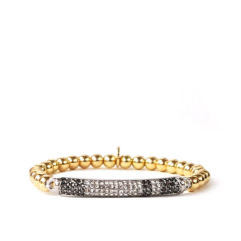 Pave Bar Beaded Bracelet