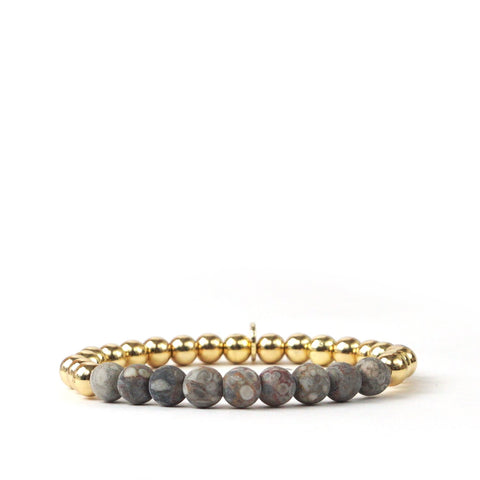Metal and Natural Stone Beaded Bracelet