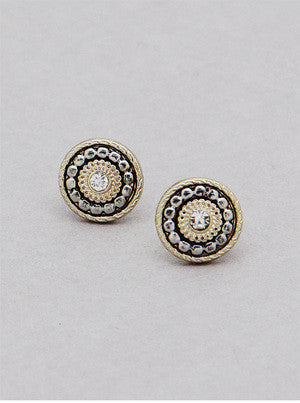 Two-Toned Stud Earrings - Onyx and Blush  - 2