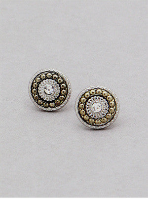 Two-Toned Stud Earrings - Onyx and Blush  - 1